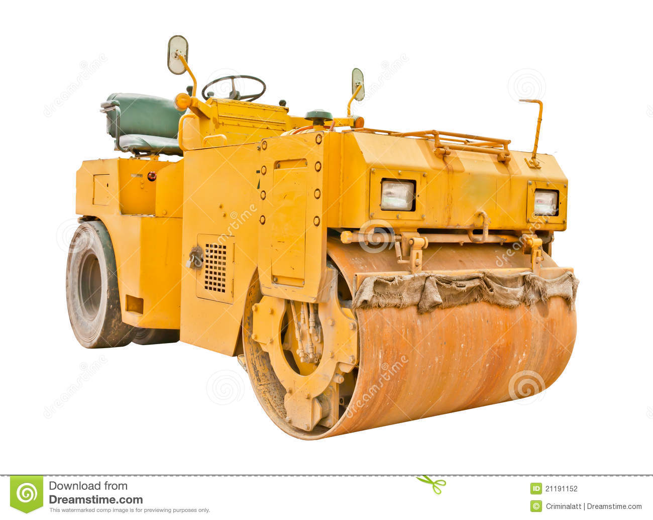 Steamroller isolated