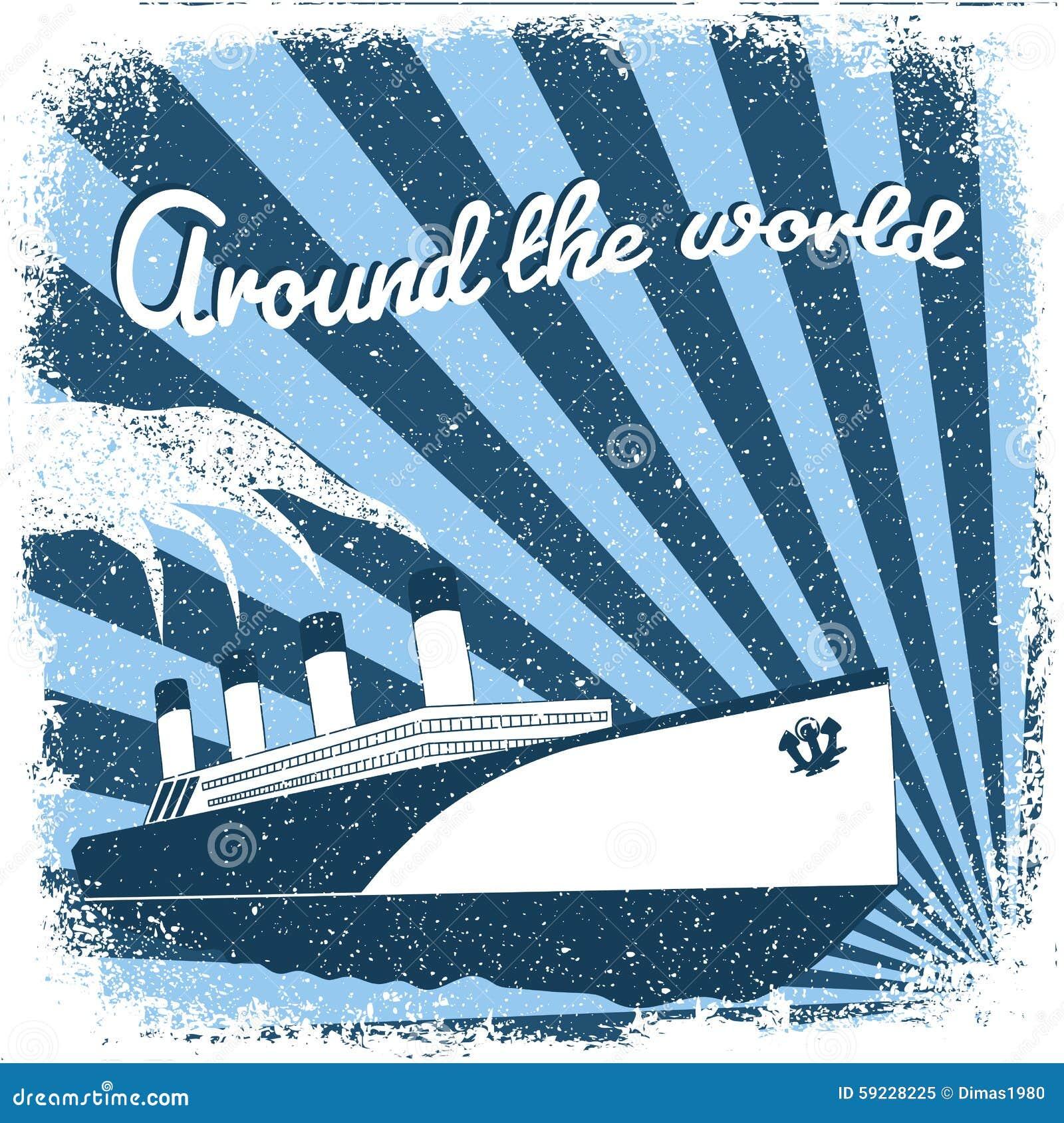 Download Steamship stock de ilustración. Ilustración de antiguo - 59228225