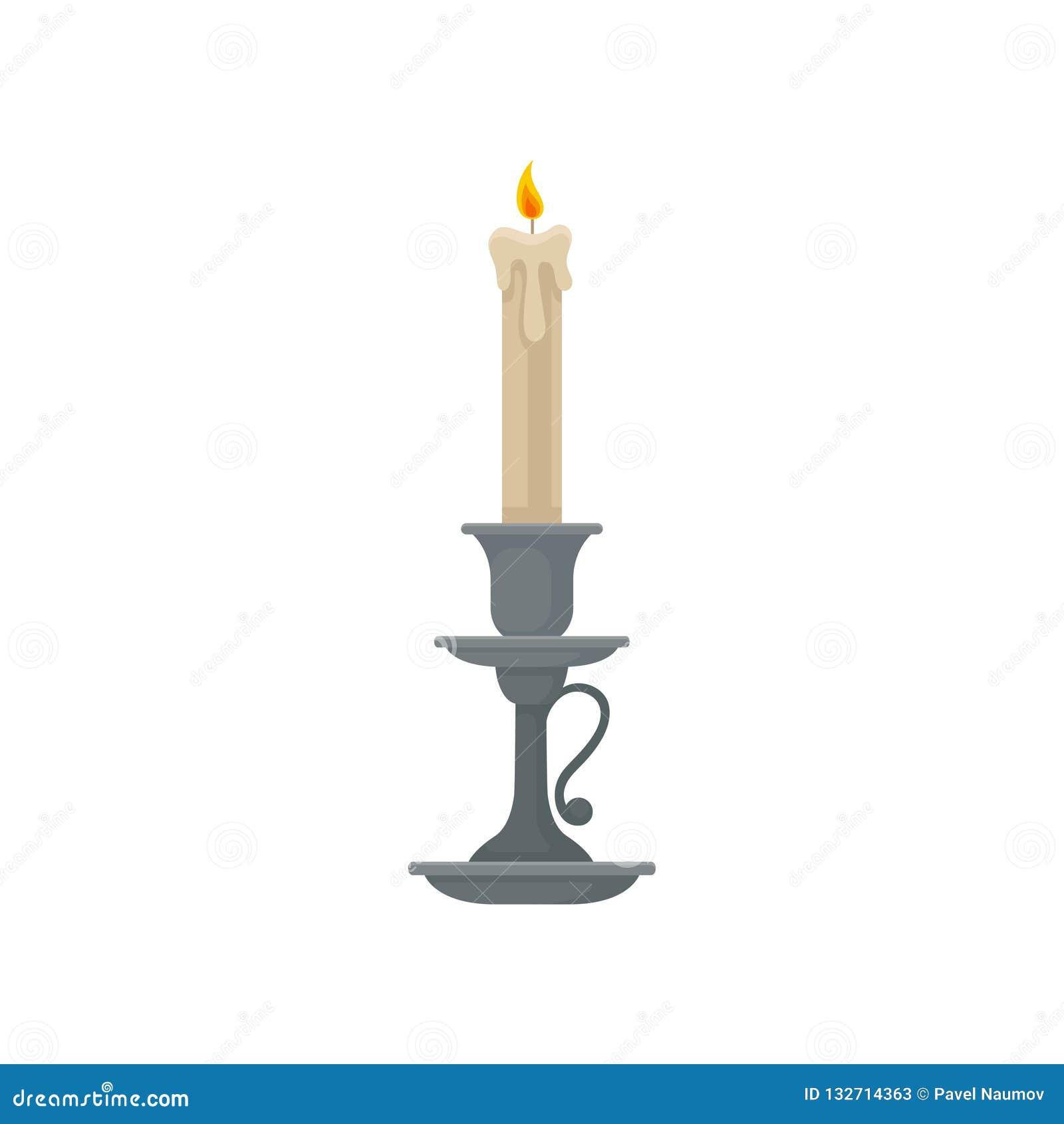 Stearinljus i en ljusstake, illustration för vektor för tappningstearinljushållare på en vit bakgrund