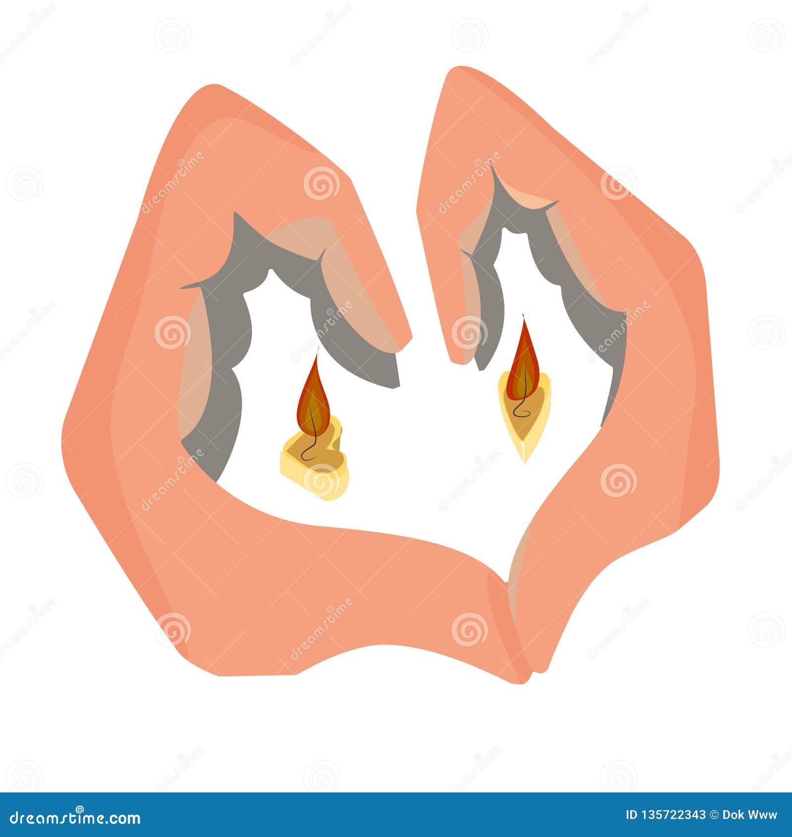 Stearinljus i formen av händer för en hjärta