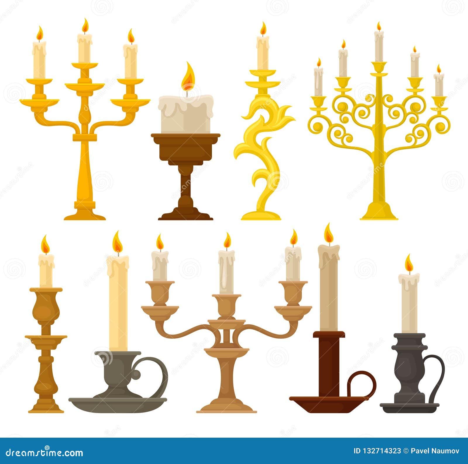 Stearinljus i ljusstakeuppsättning, tappningstearinljushållare och kandelabervektorillustration på en vit bakgrund