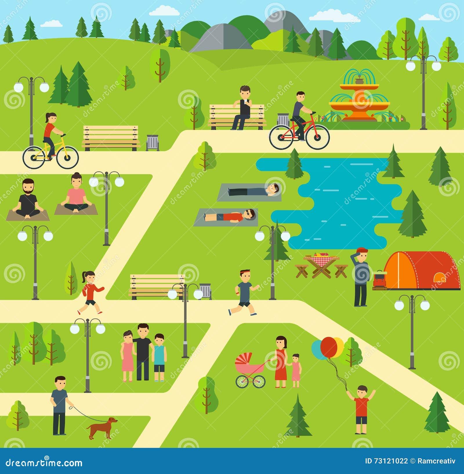 Stedelijk openbaar park, die in het park, picknick die, het biking kamperen, de hond in park, yogazittingen lopen