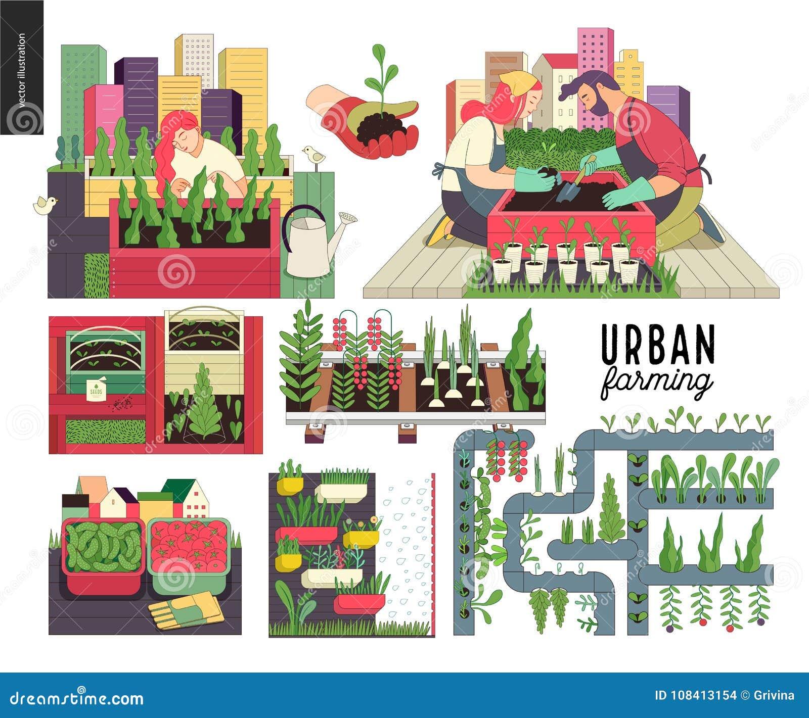 Stedelijke de landbouw en het tuinieren reeks
