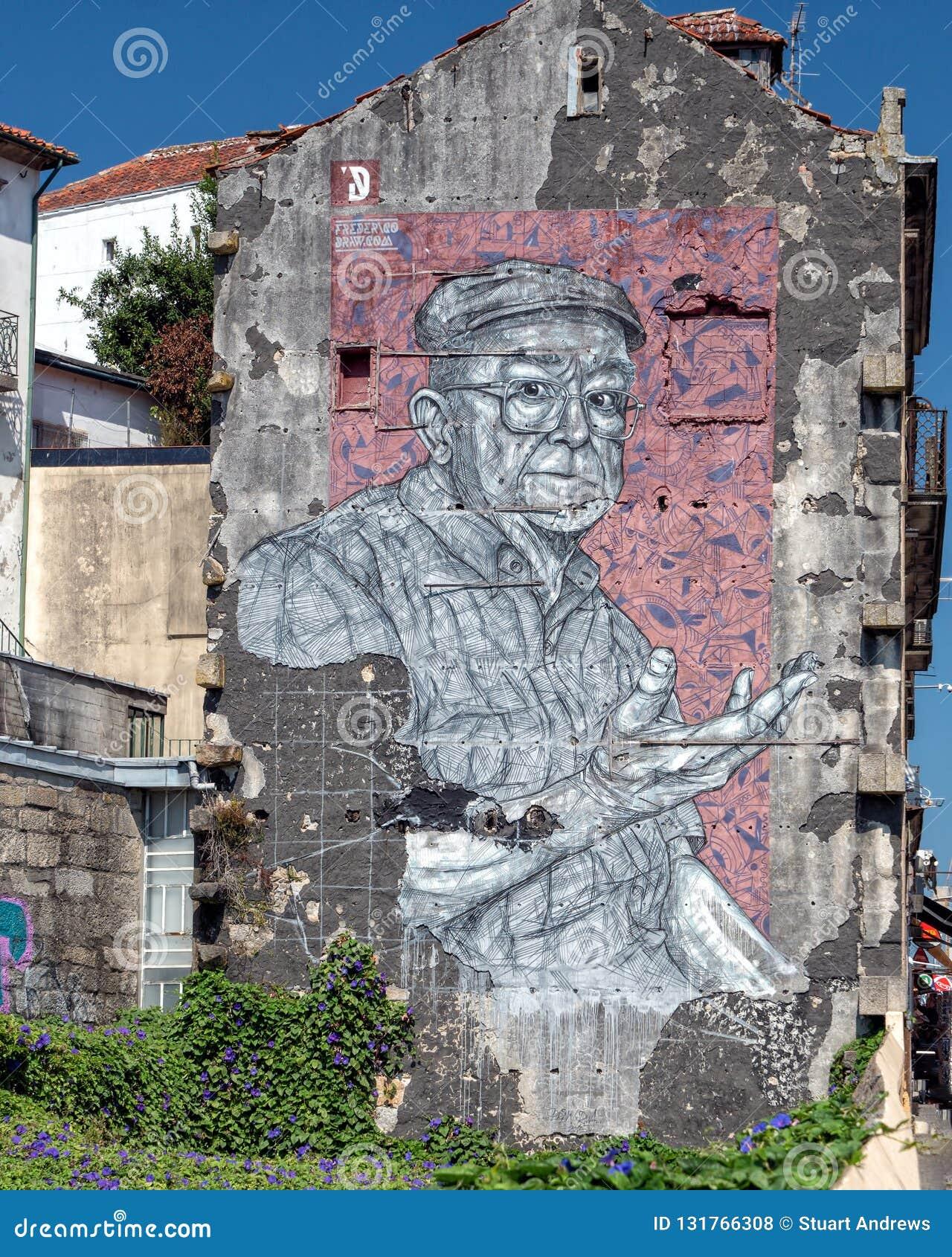 Stedelijke Kunst op flatblok, Porto, Portugal