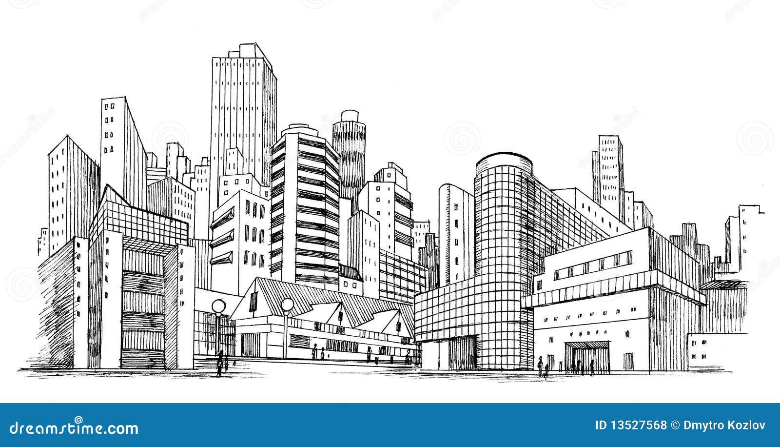 Stedelijke Stad Stock Illustratie Illustratie Bestaande
