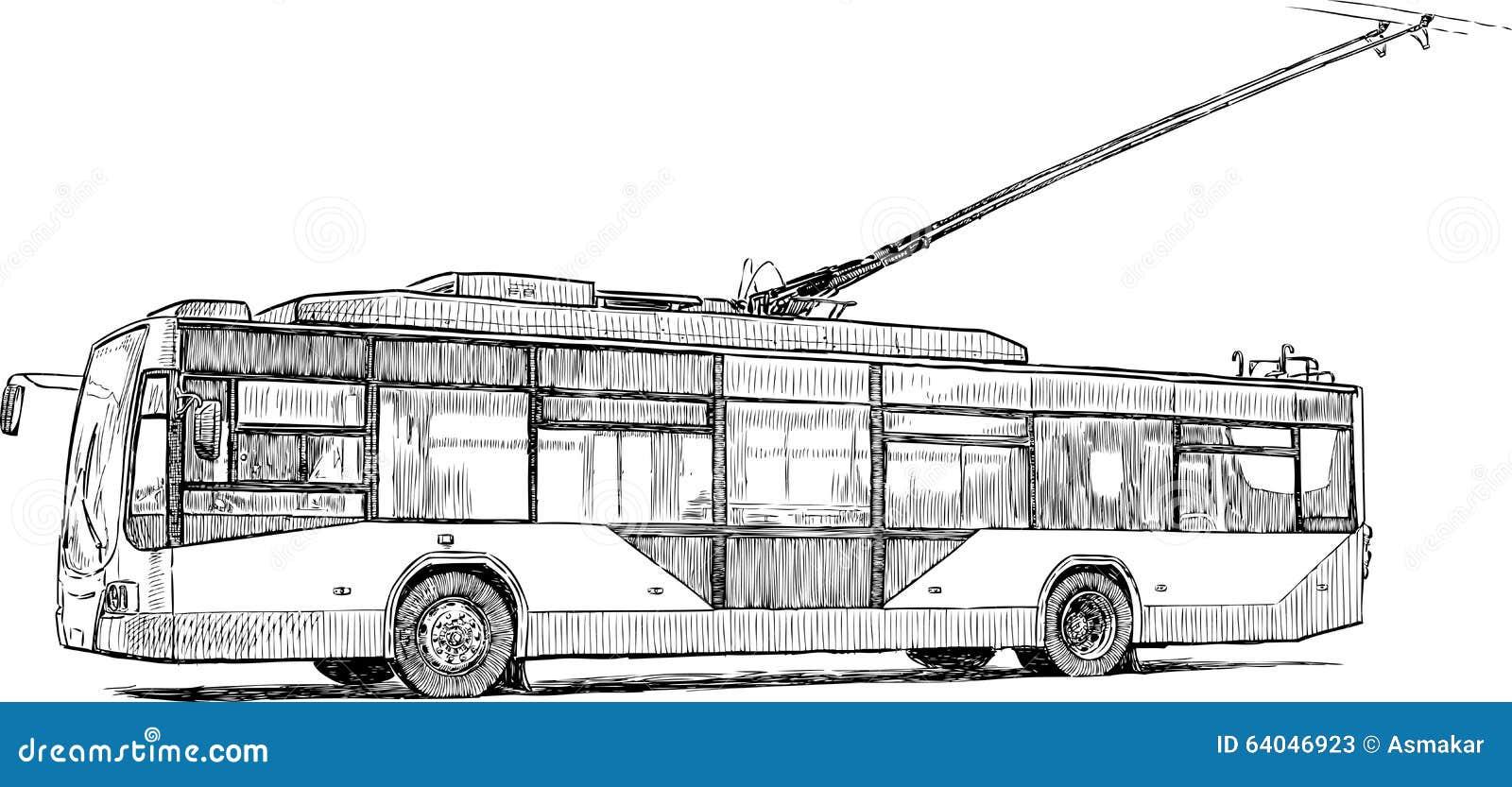 Line Drawing Bus : Stedelijke trolleybus vector illustratie