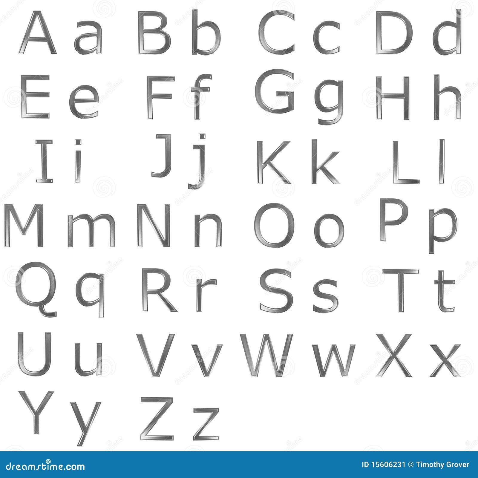 Steel Alphabet on White