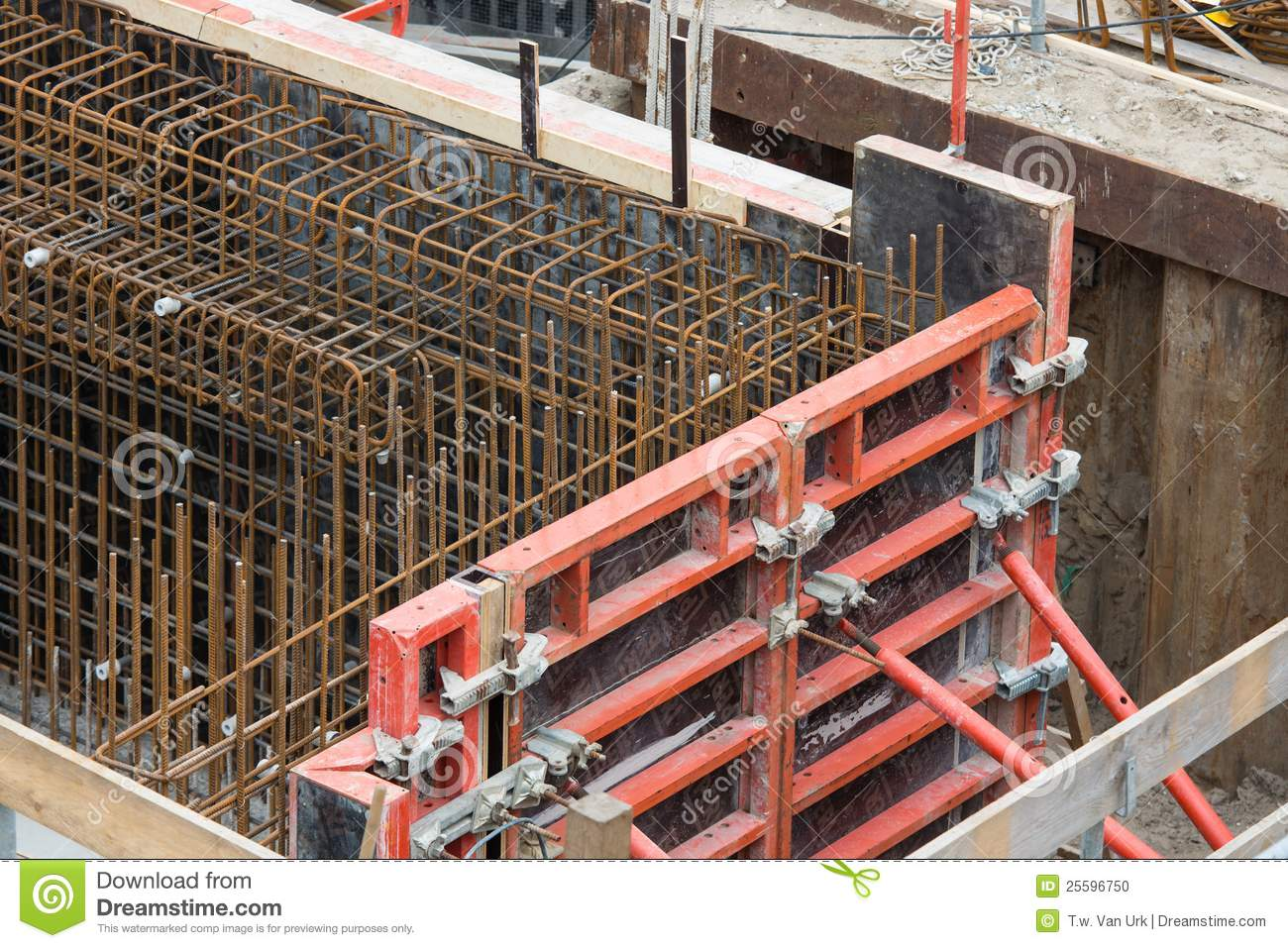 Reinforced Cement Concrete : Steel bars for reinforced concrete foundation stock photo