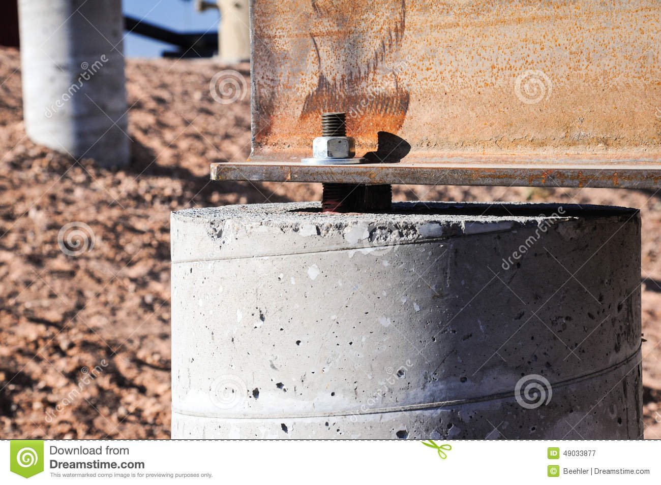 Steel beam on concrete foundation stock image of