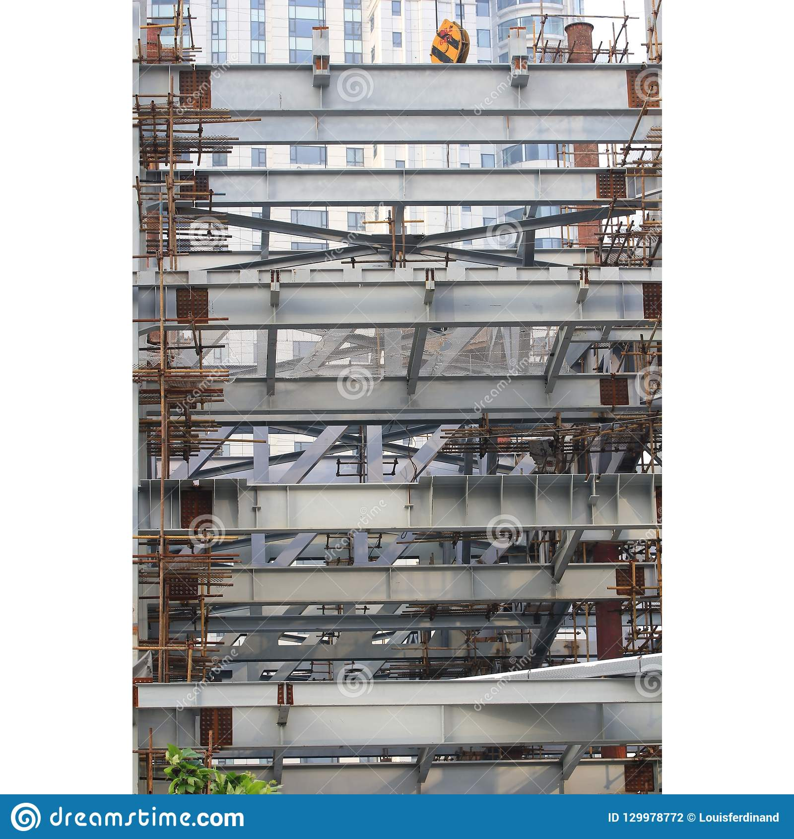 Steel beams and bamboos scaffolds in fast growing Shanghai, aftermath of economic booming