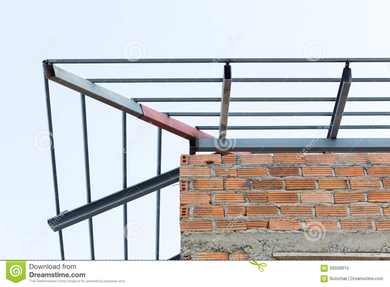 Steel beams roof truss residential building construction for Roof truss construction