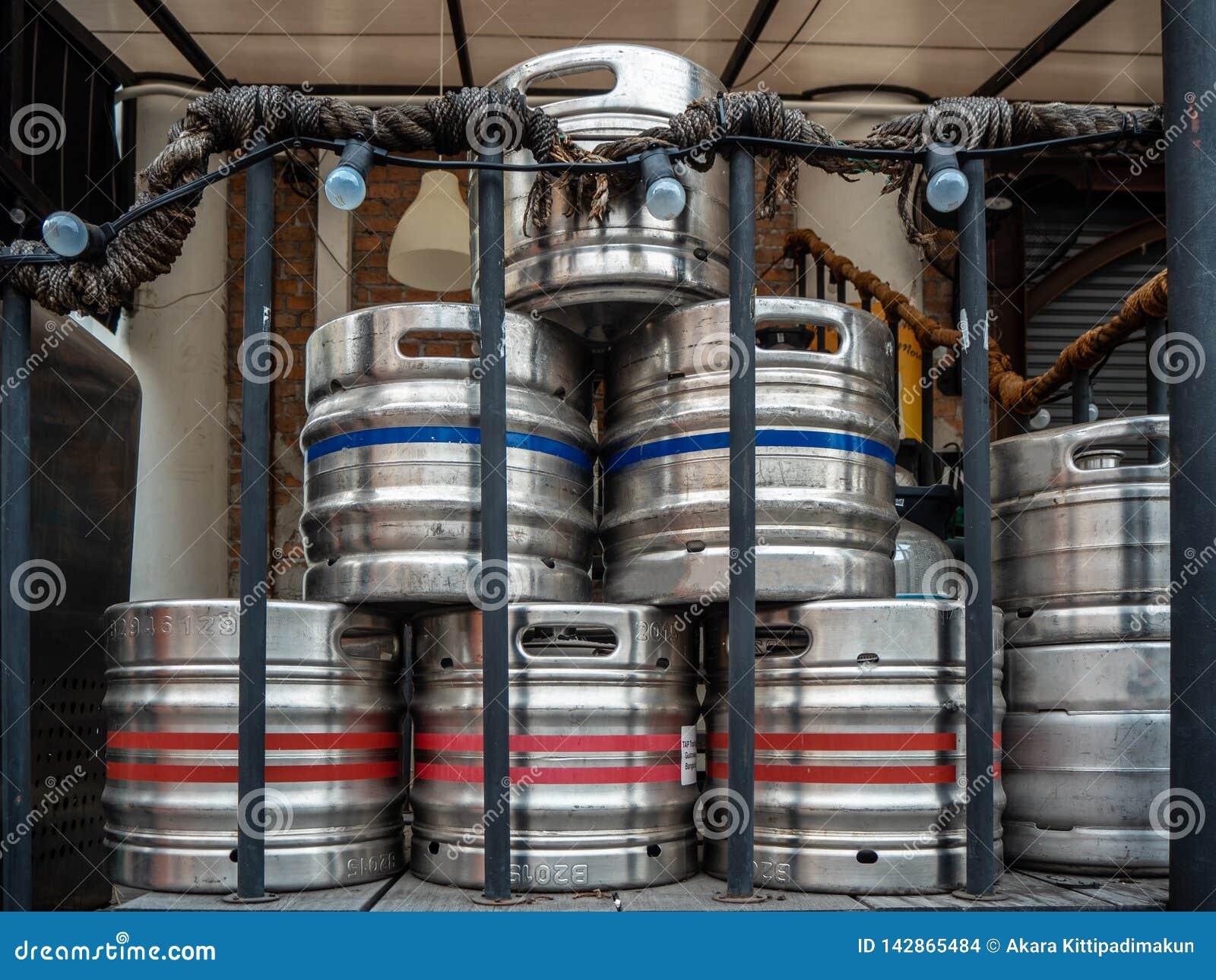 Steel beer kegs on the back of the restaurant
