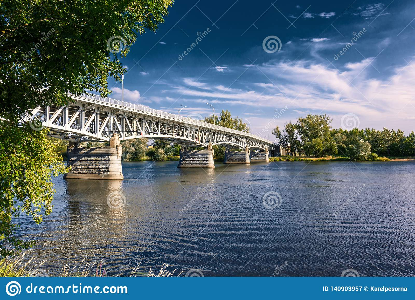 Steel bridge across the river Elbe in the town of Litomerice in the Czech Republic