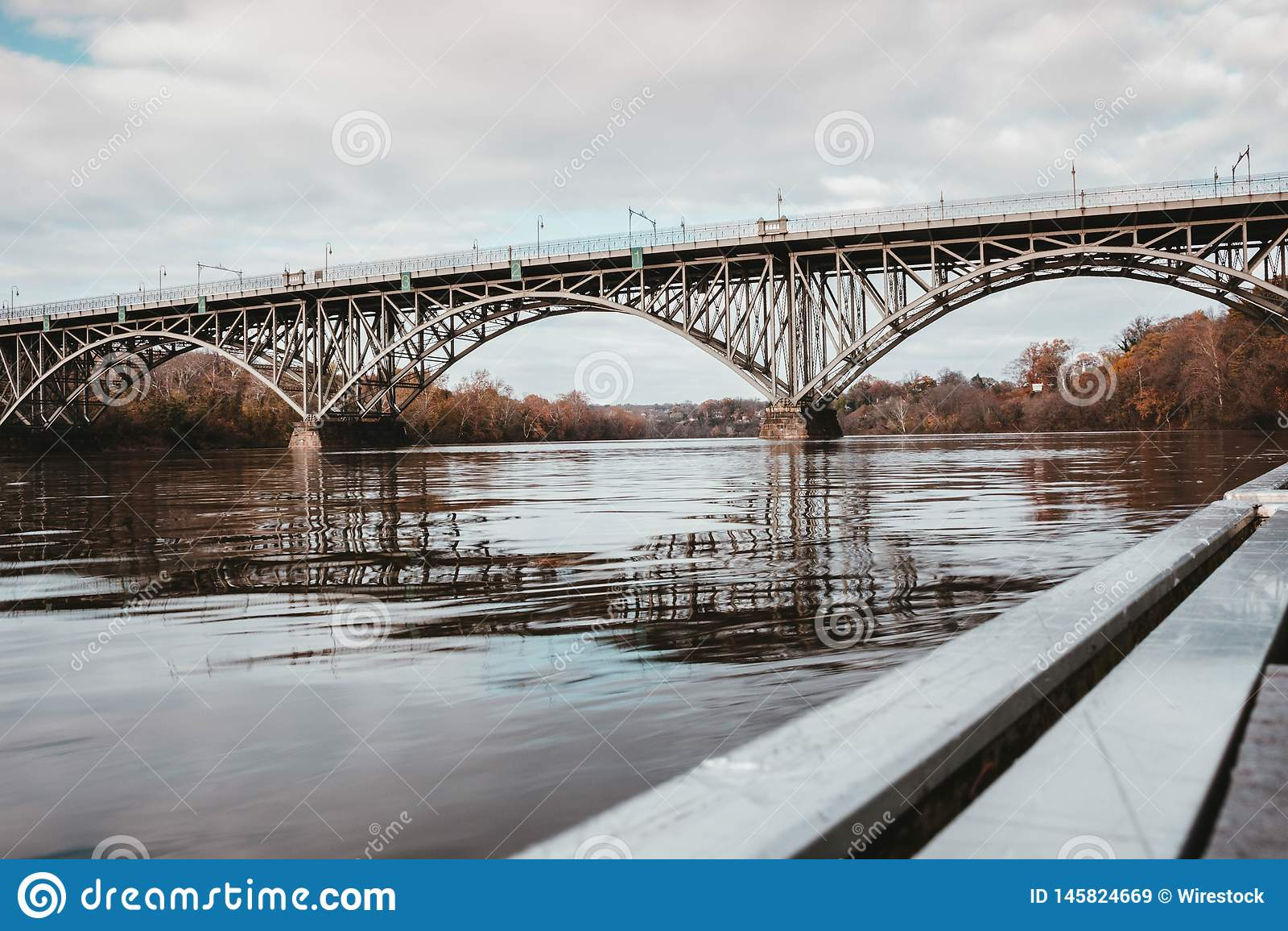 A steel bridge over a river