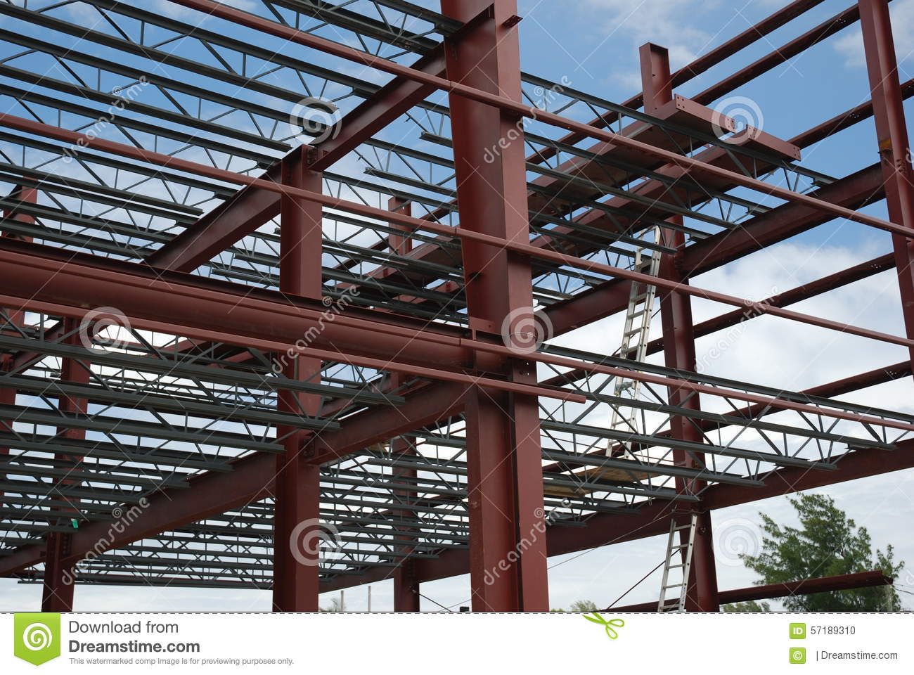 Metal Building Pillar : Steel building stock photo image