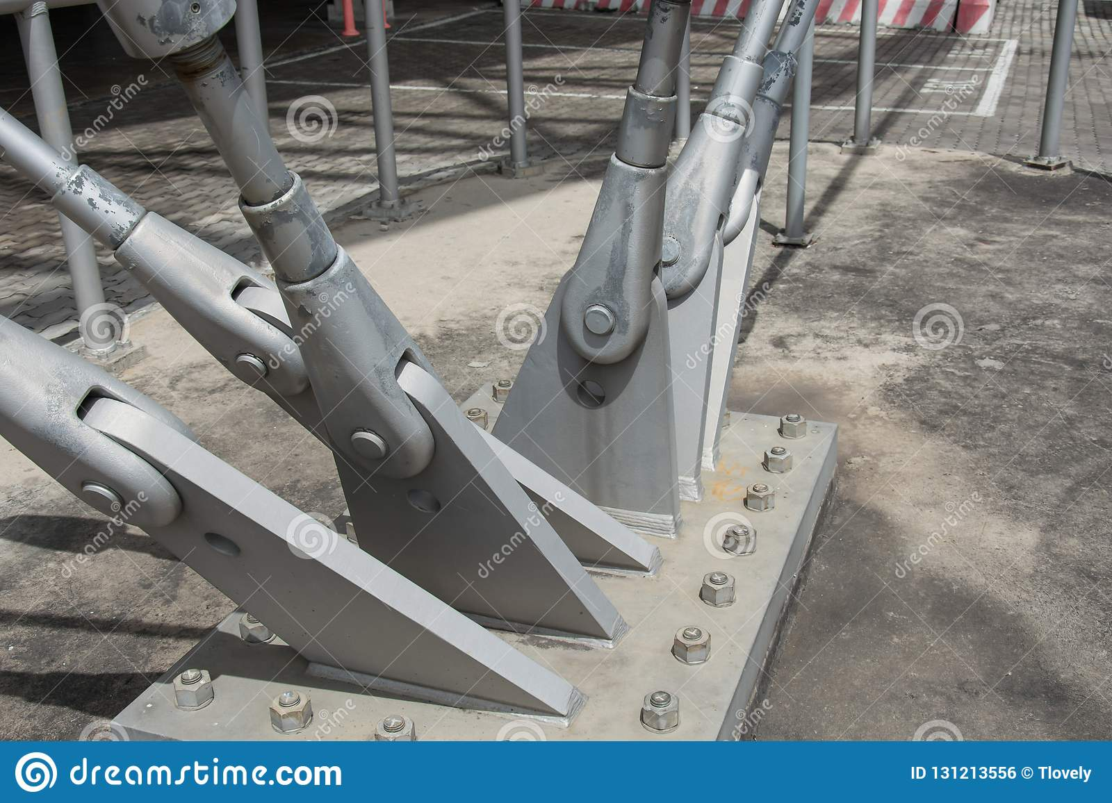 Steel Column Support With Bolts And Nuts  Stock Photo
