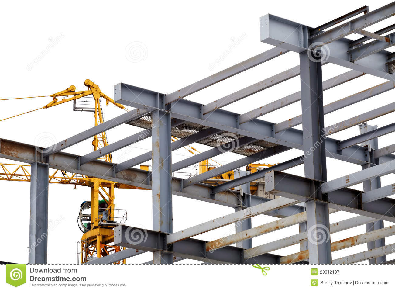Steel Construction With Girders Isolated Royalty Free Stock ...