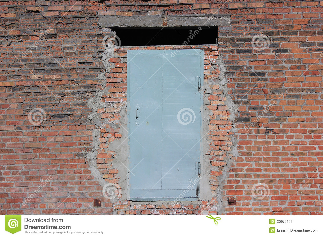 Steel door in the brick wall stock photo image 30979126 for Door in the wall