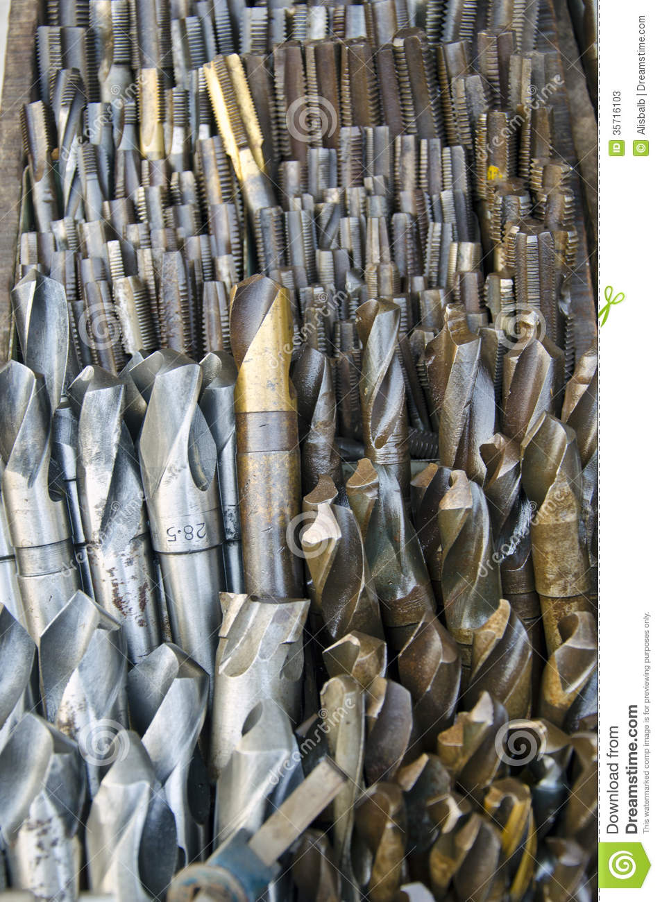 Steel Drill Bits Collection In Market Stock Image - Image ...