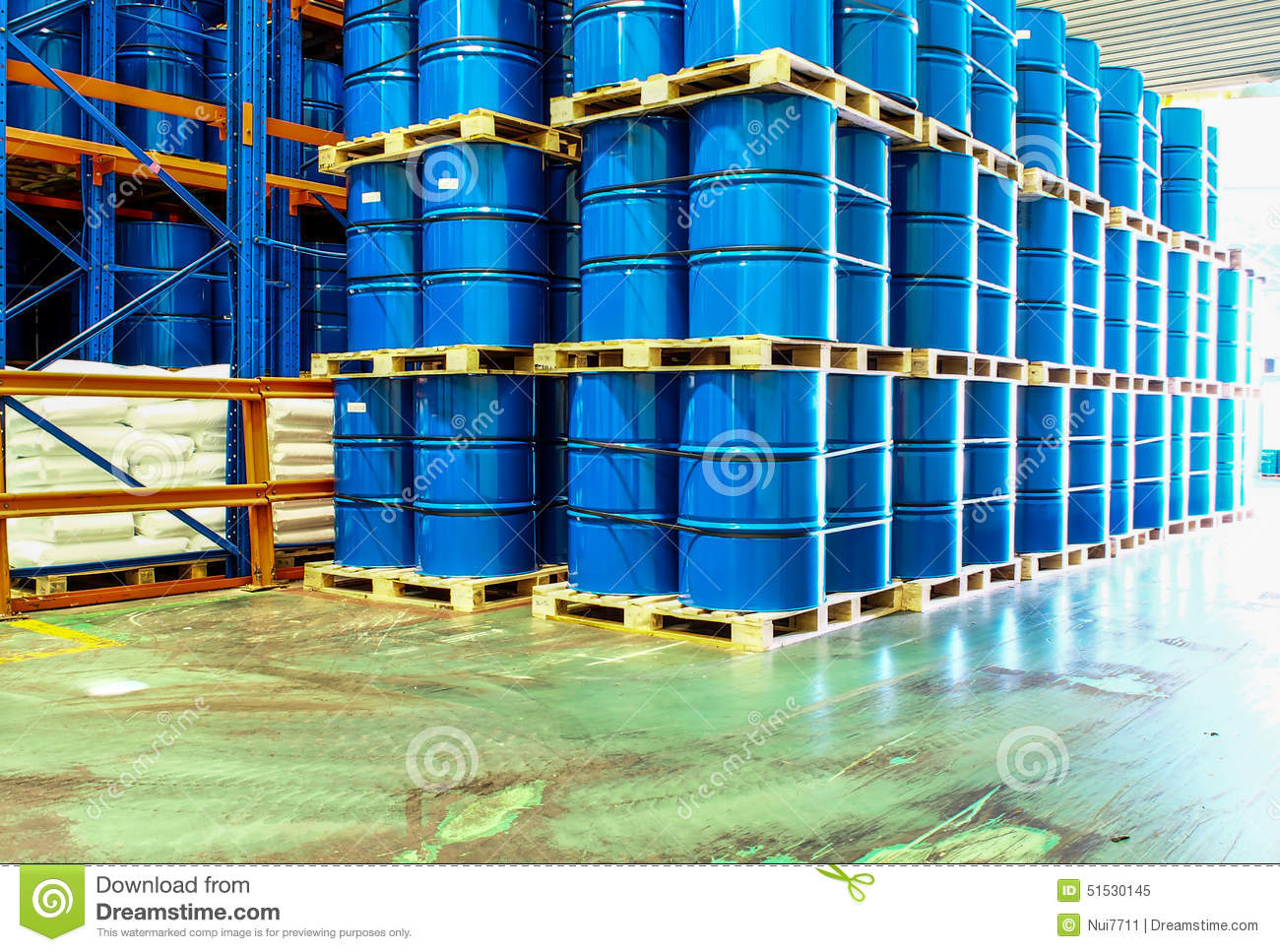 Steel Drums Stored In Warehouse Stock Photo Image 51530145