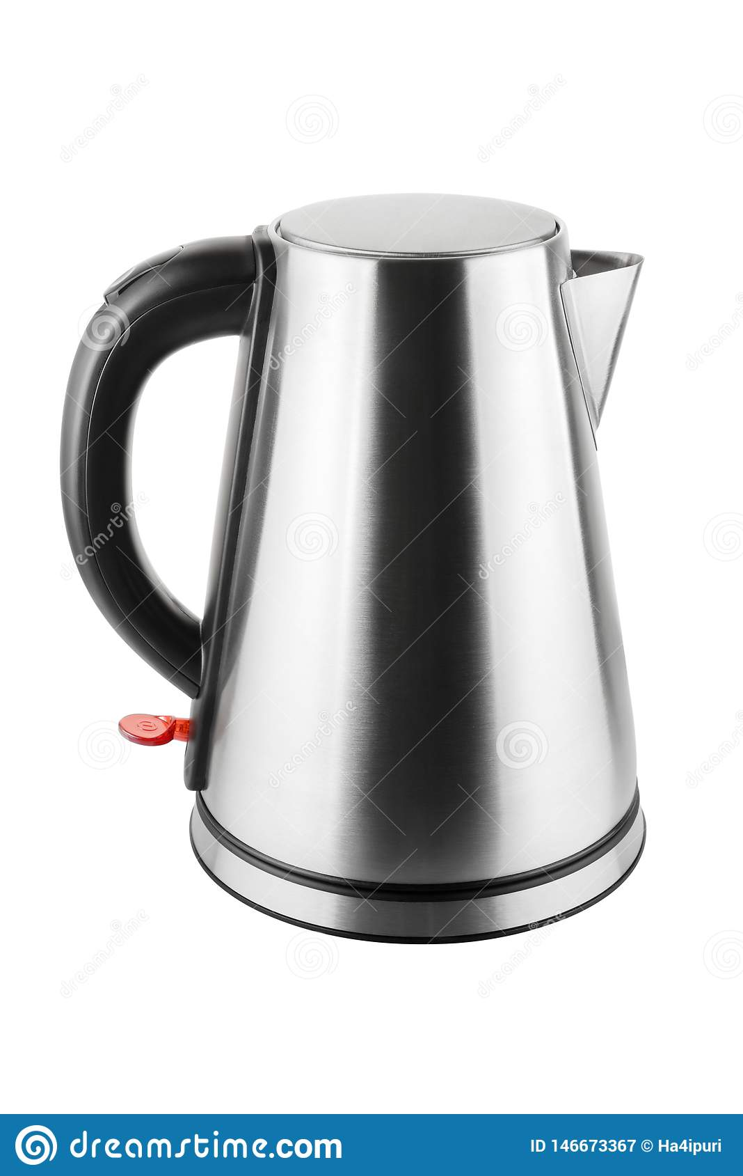 Steel electric kettle isolated on white