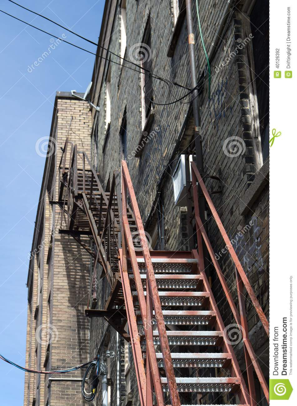 Steel Emerbency Exit Apartment Stairs. Stock Photo - Image ...