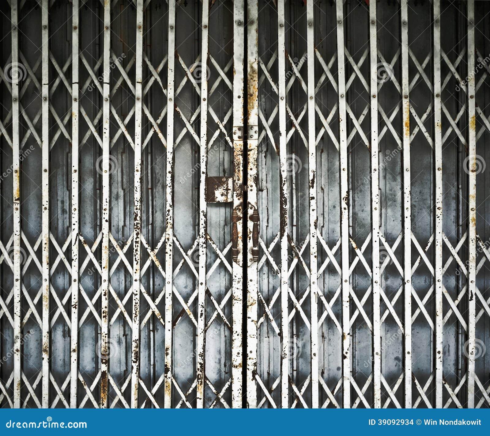 Old Steel Door : Steel folding door stock photo image of metal iron