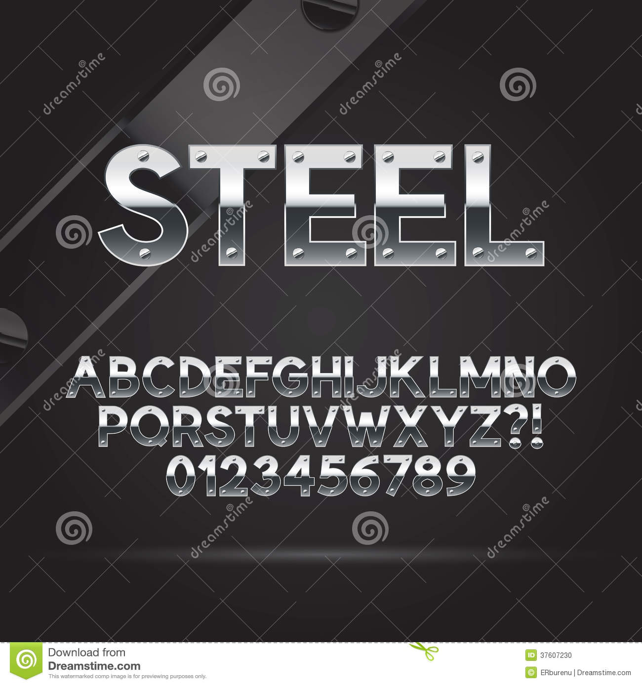 Steel Font and Numbers, Eps 10 Vector, Editable for any Background.