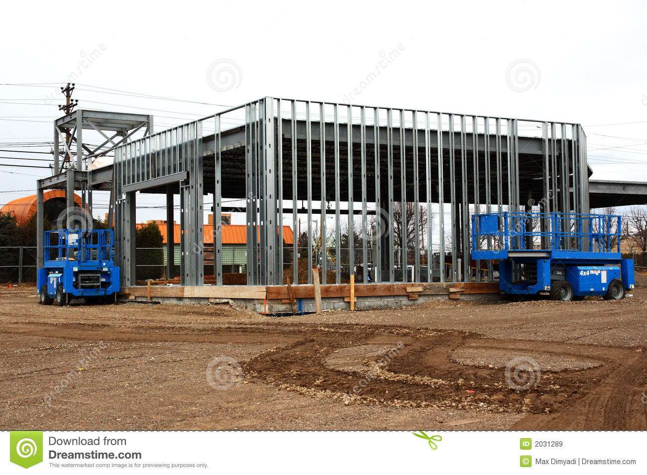 Steel Frame House Construction : Steel frame construction building stock image