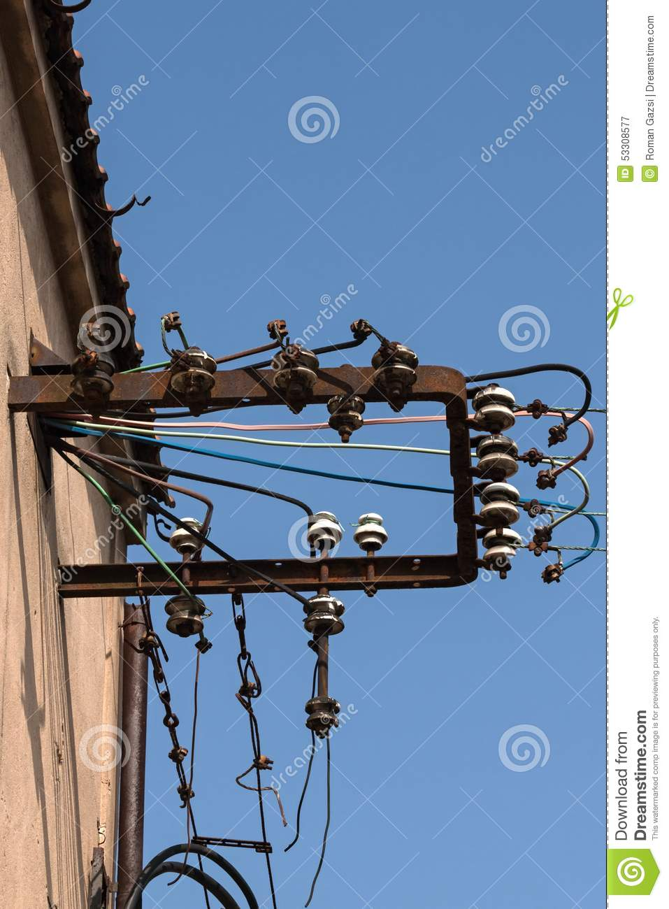 Steel Frame And Electrical Insulators Stock Image Image Of Blue