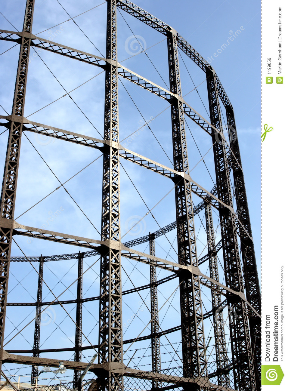 a steel frame of a gas tower