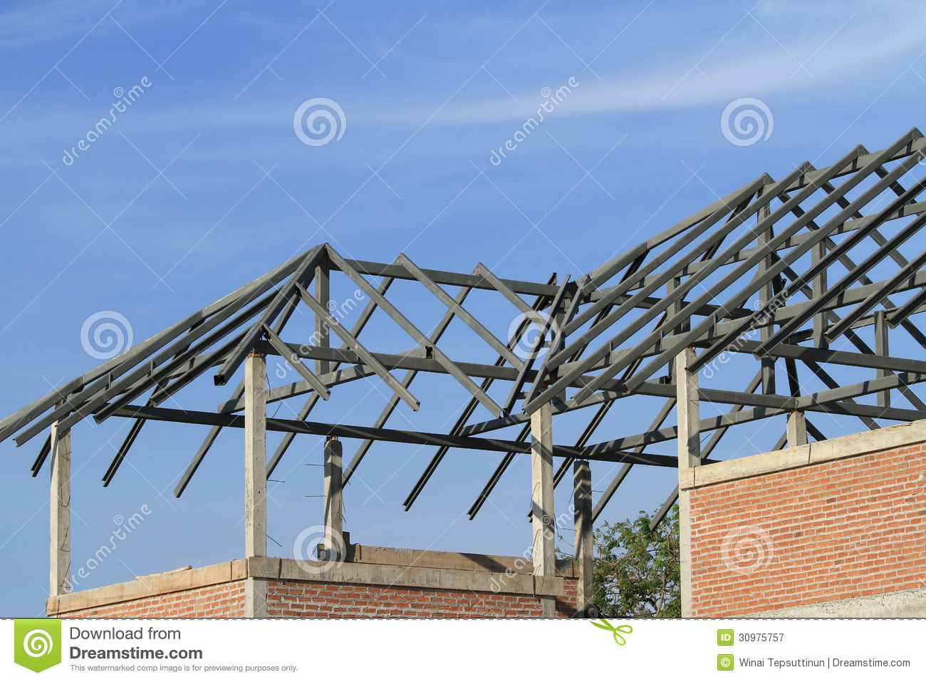 Steel Frame House Construction : Steel frame of house roof stock image estate