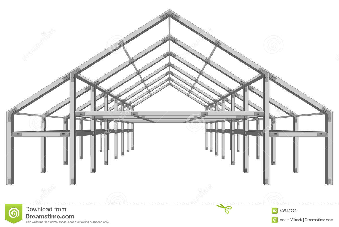 Steel Frame Wide Building Project Scheme Isolated On White