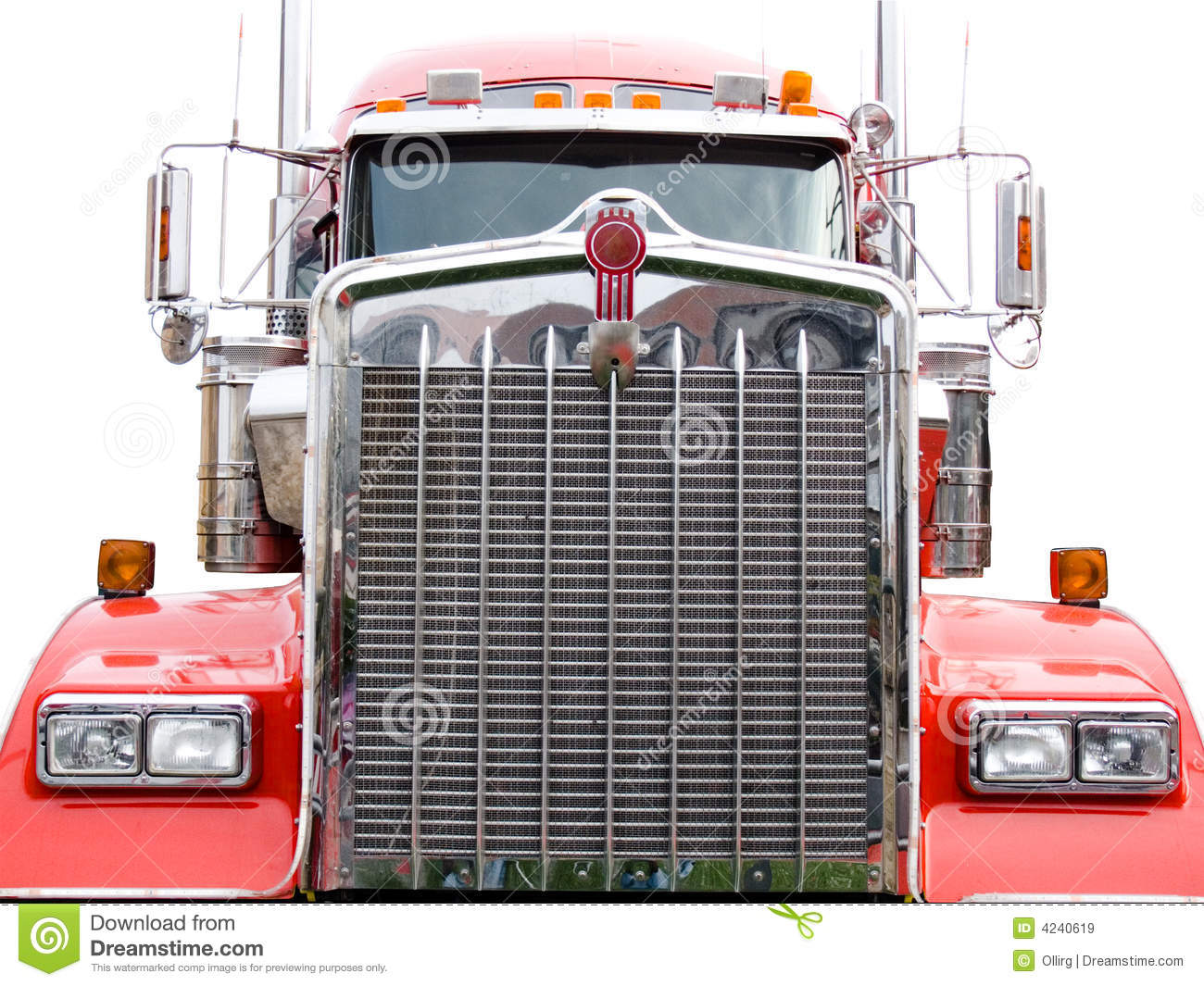 Semi Tractor Grills : Steel grill of red truck stock image driving