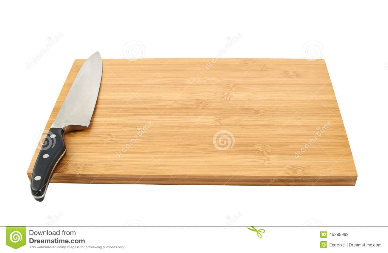 steel kitchen knife on cutting board stock photo image 45285968. Black Bedroom Furniture Sets. Home Design Ideas