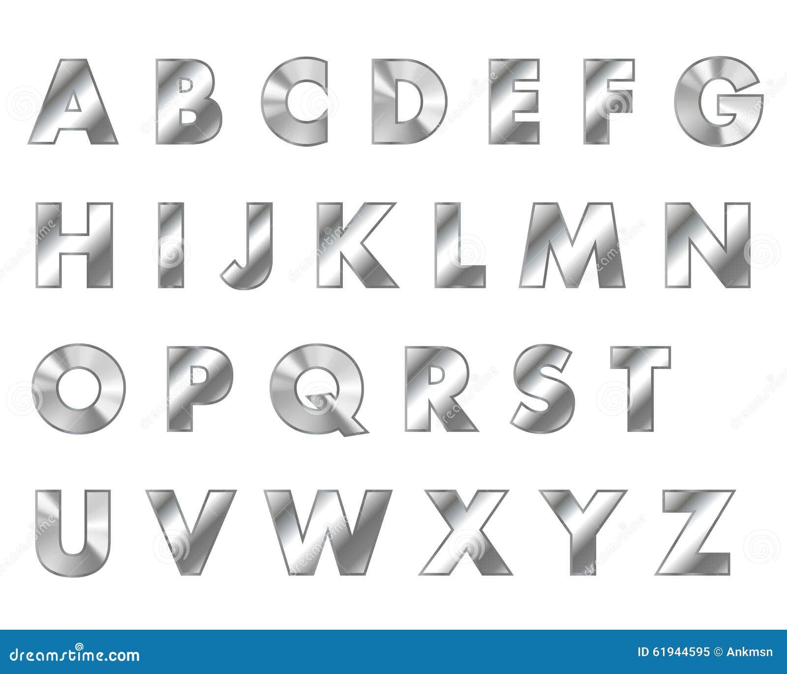Steel Letters Metal Font Stock Vector
