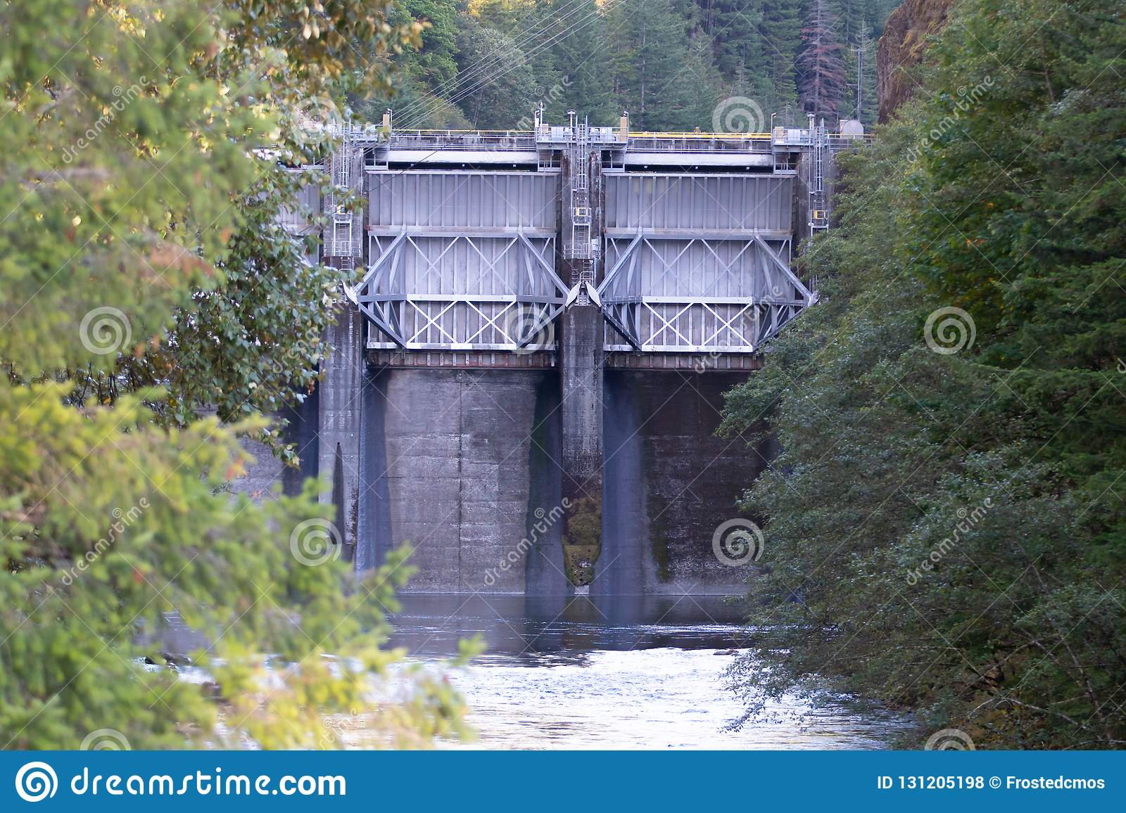 Steel levee dam on the Oregon river