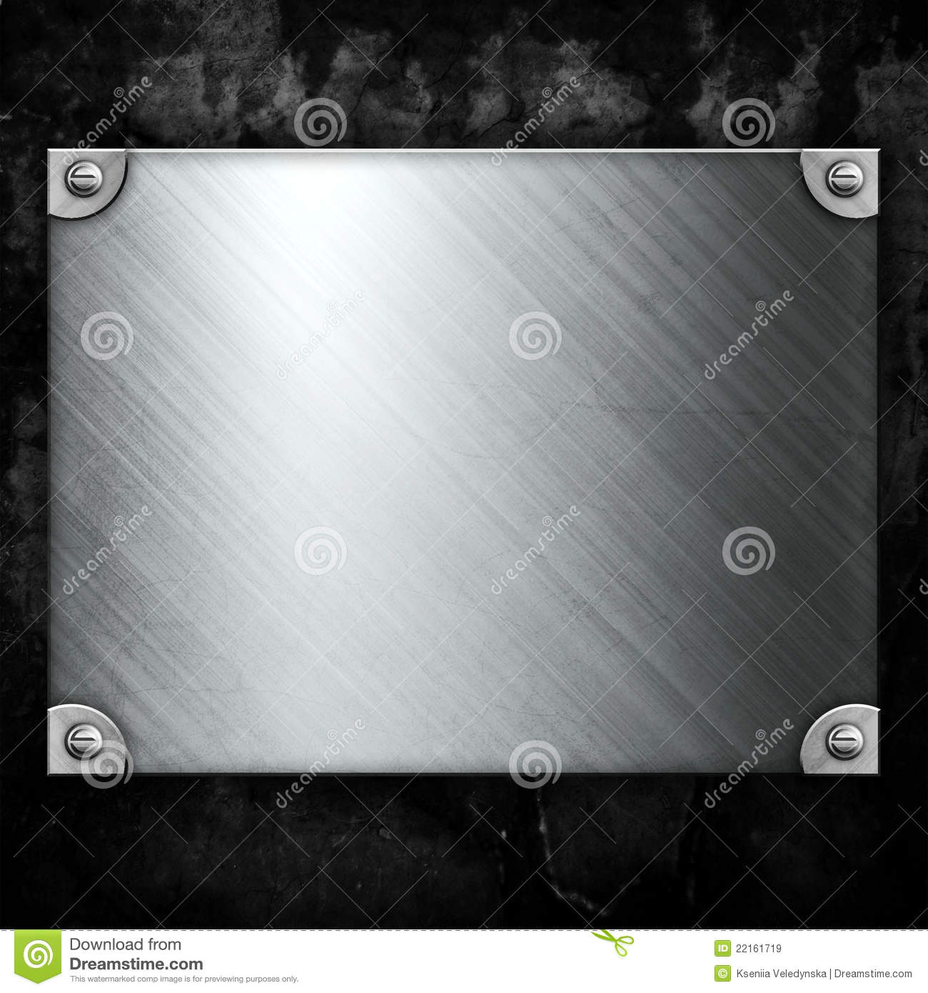 Steel Metal Plate On Concrete Wall Royalty Free Stock