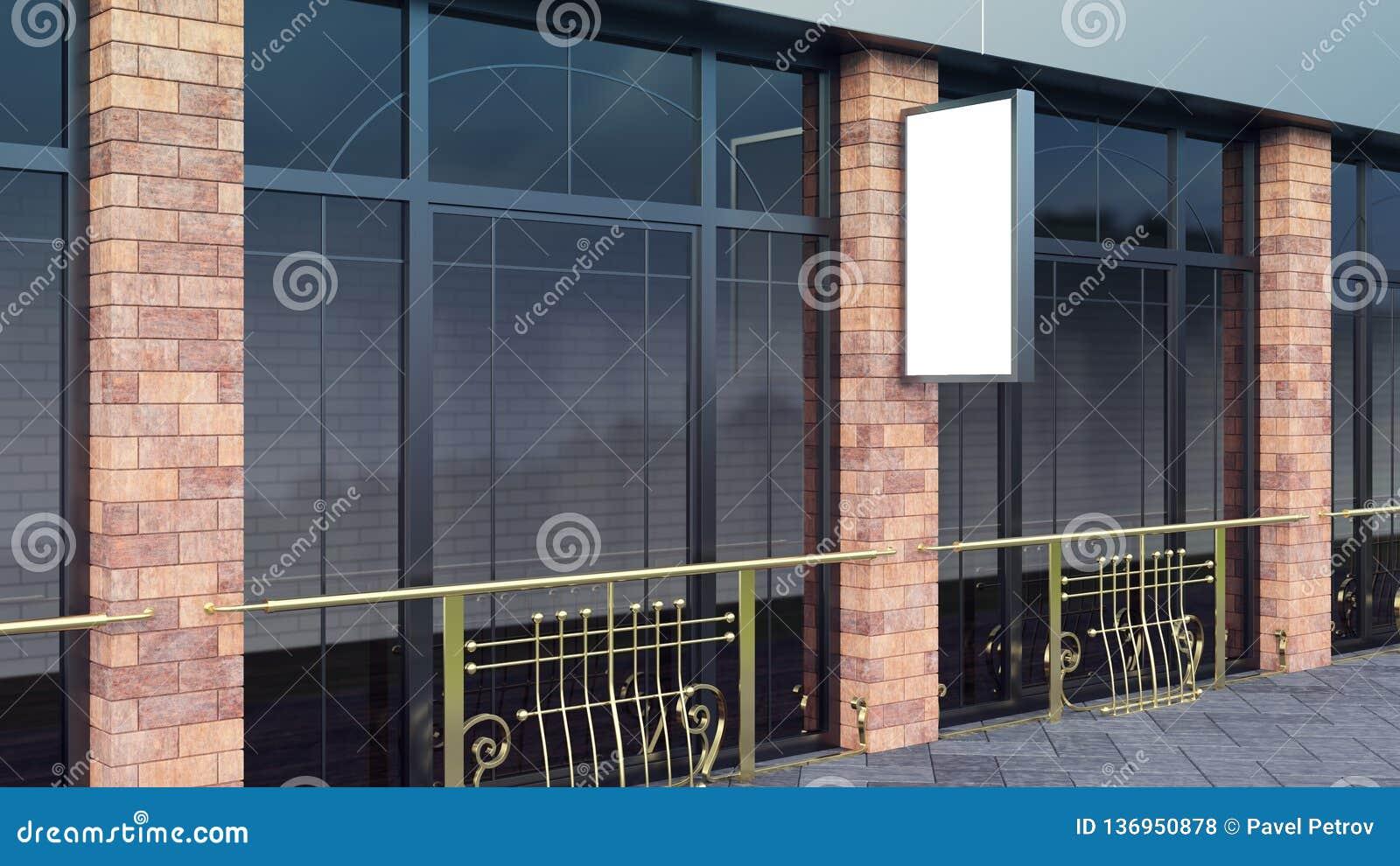 Steel Mockup on city street vertical blank billboard for demonstration of design 3d render