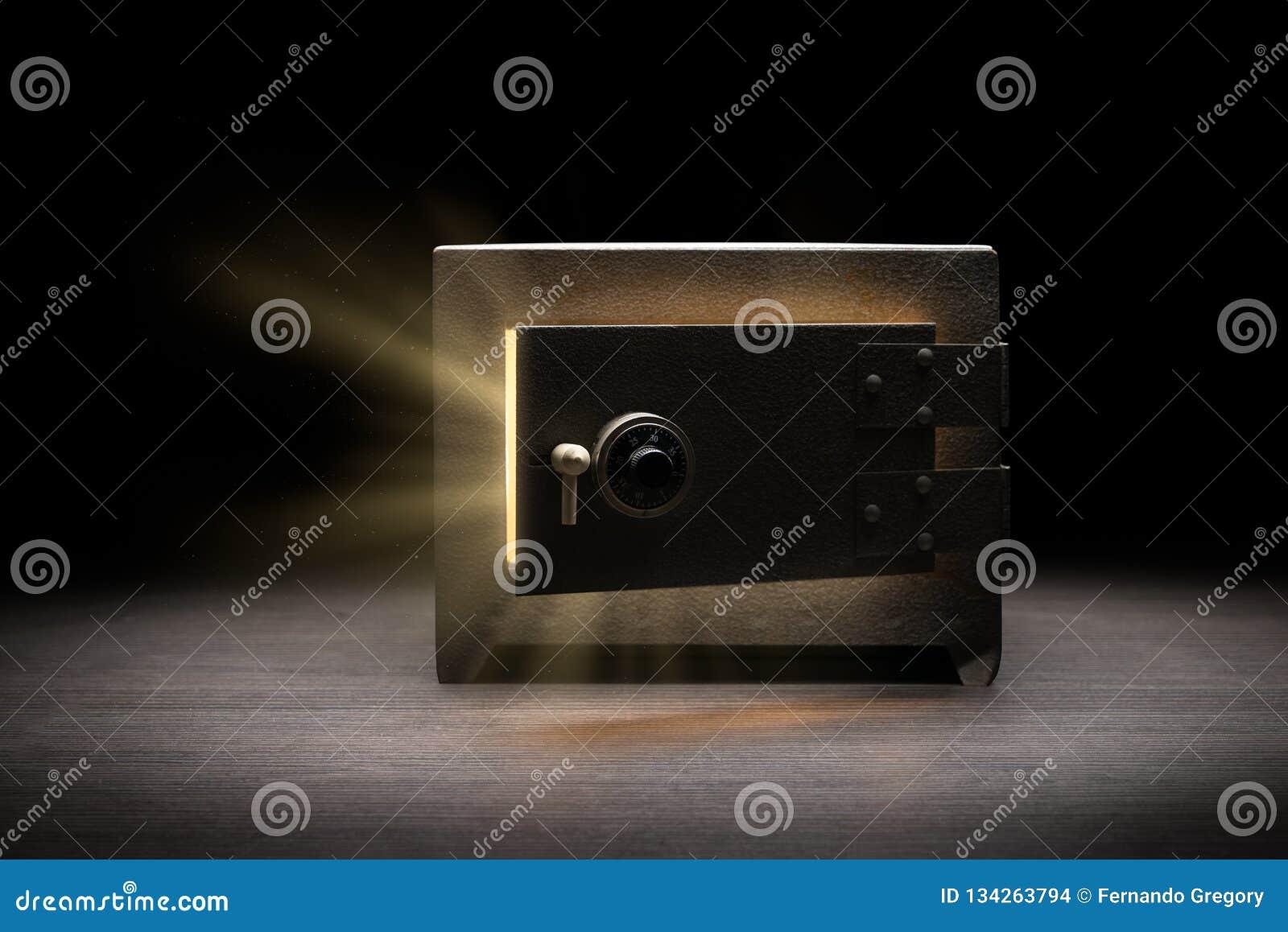 Steel bank safe on a dark background
