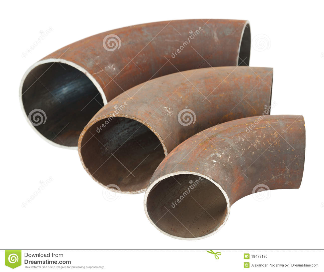 Steel pipe bends stock photo image