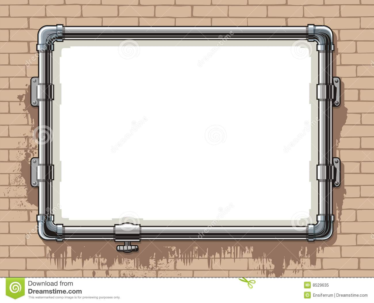Steel pipe photo frame stock vector image of grunge