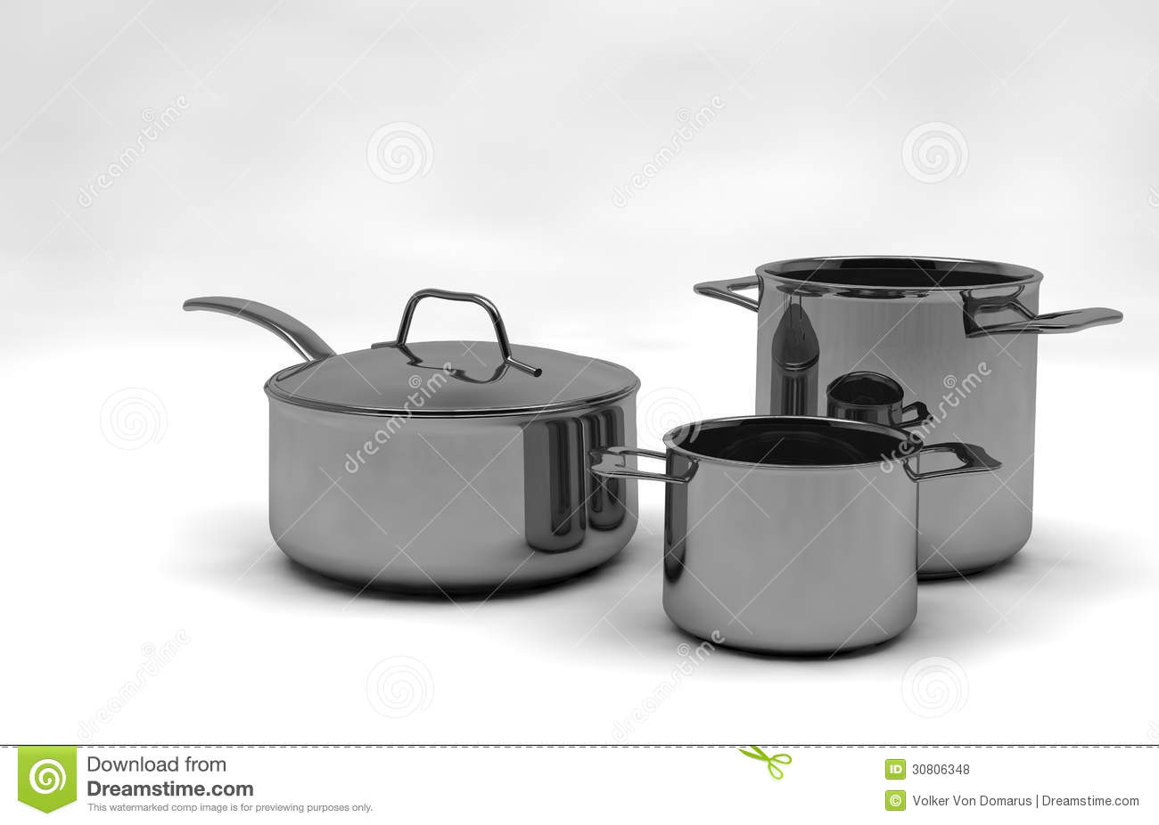 steel pots and pans royalty free stock photos image 30806348. Black Bedroom Furniture Sets. Home Design Ideas