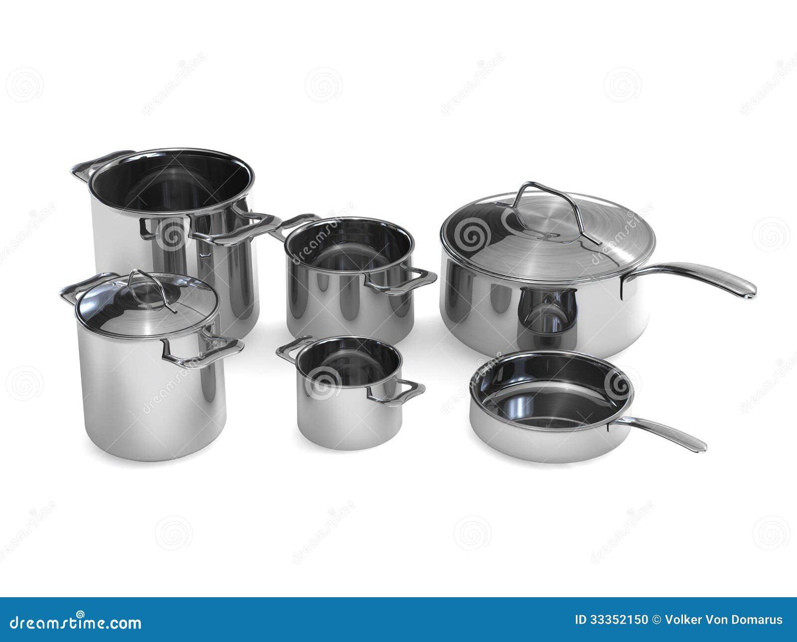 steel pots and pans stock photo image 33352150. Black Bedroom Furniture Sets. Home Design Ideas