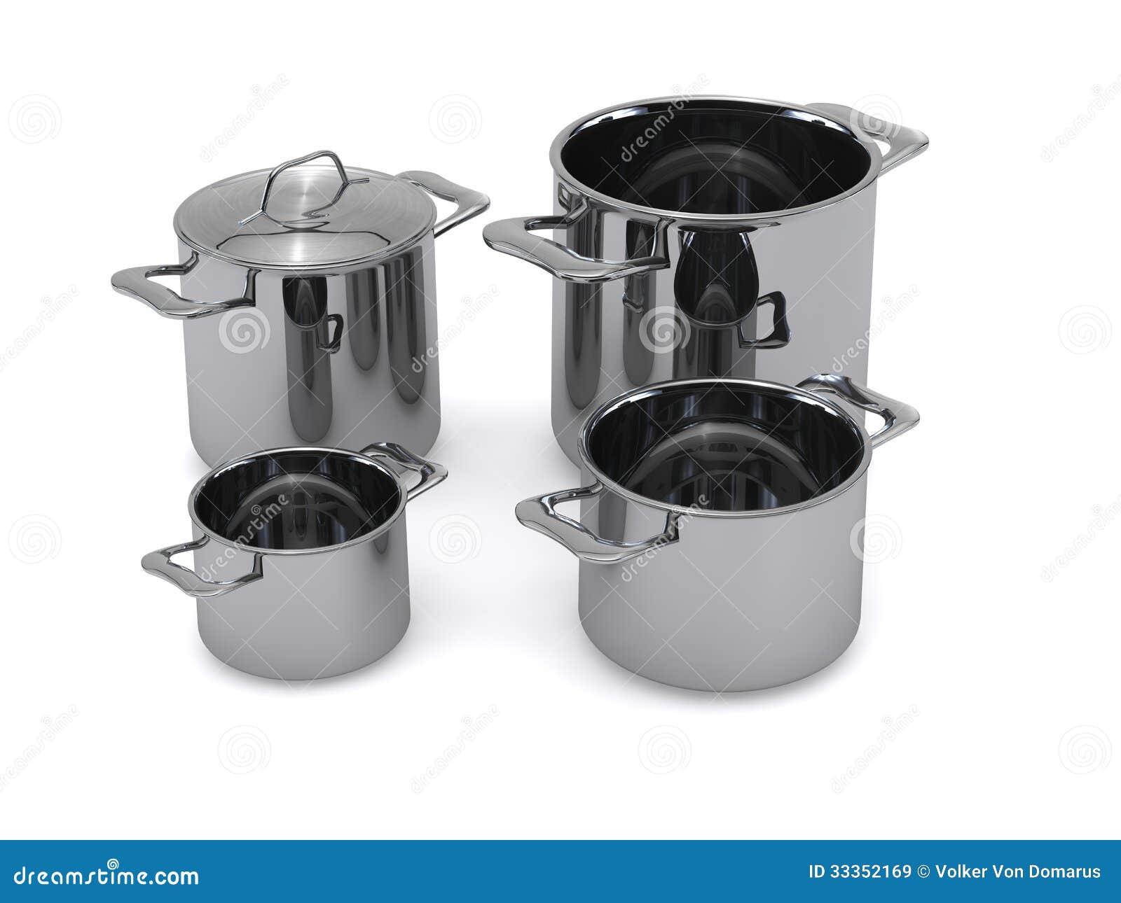 steel pots and pans royalty free stock images image 33352169. Black Bedroom Furniture Sets. Home Design Ideas