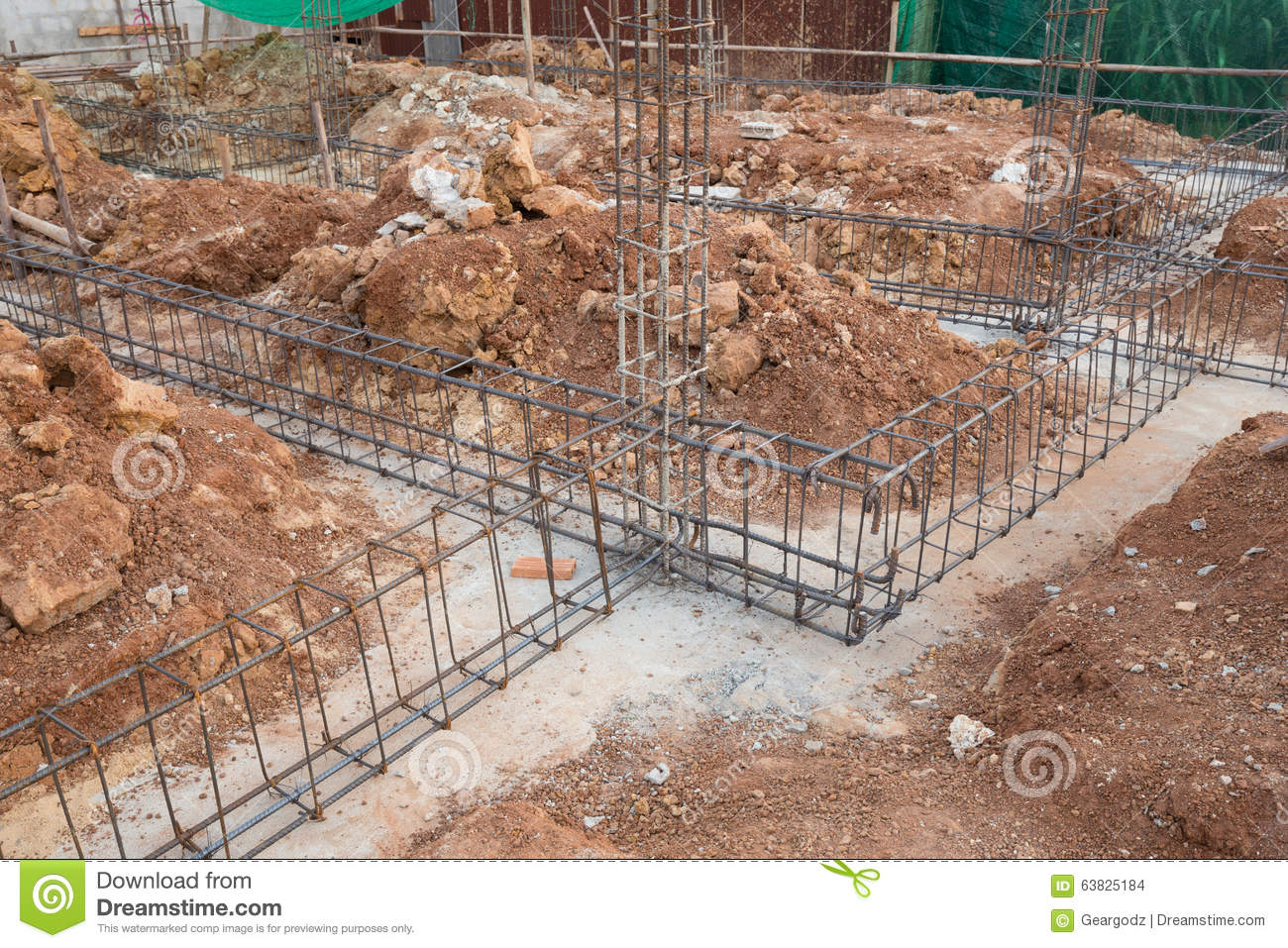 Steel rod for beam and pillar at construction site stock for Post and pillar foundation