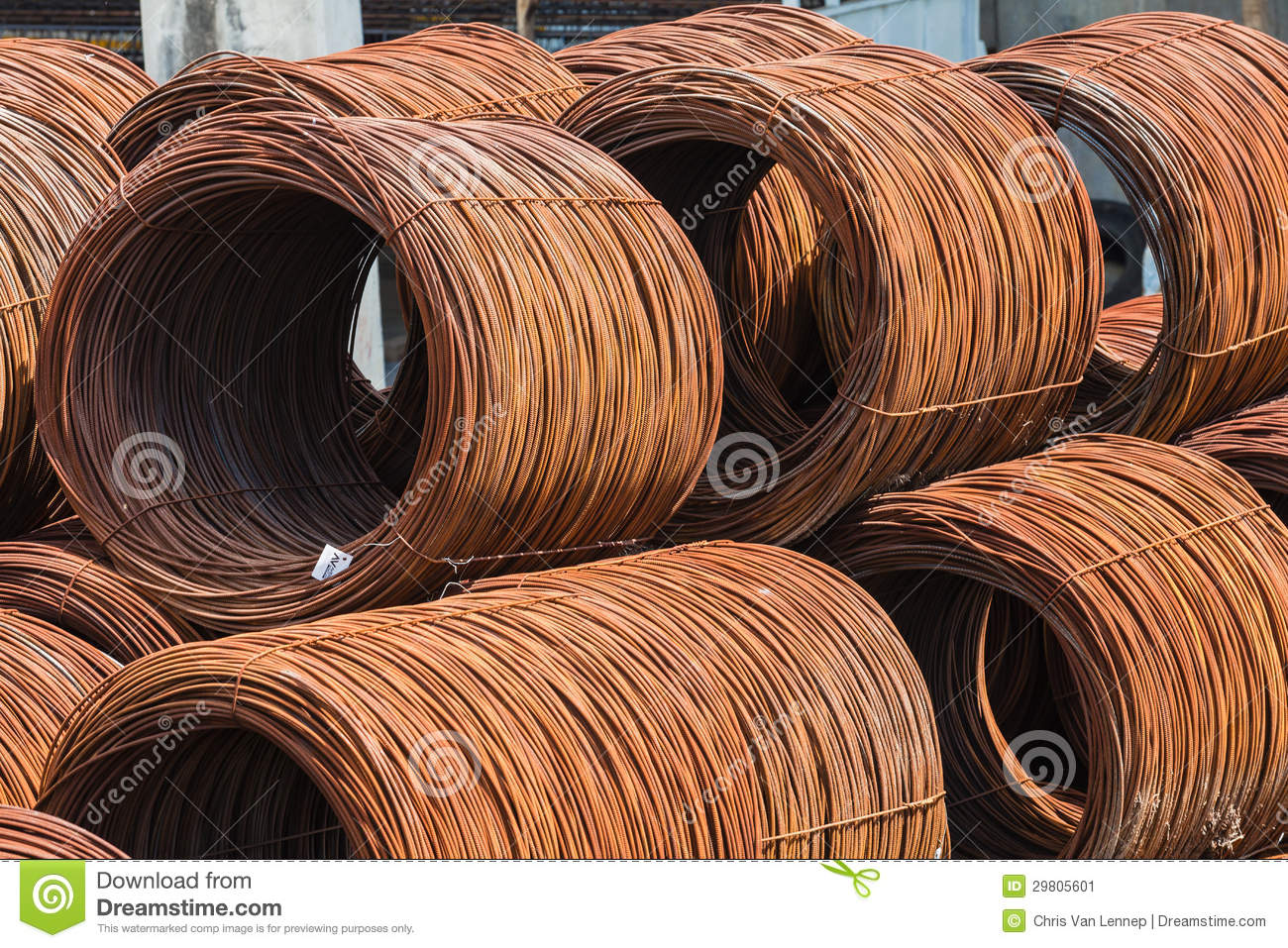 Rolls In Cement : Steel rod rolls stacked stock image