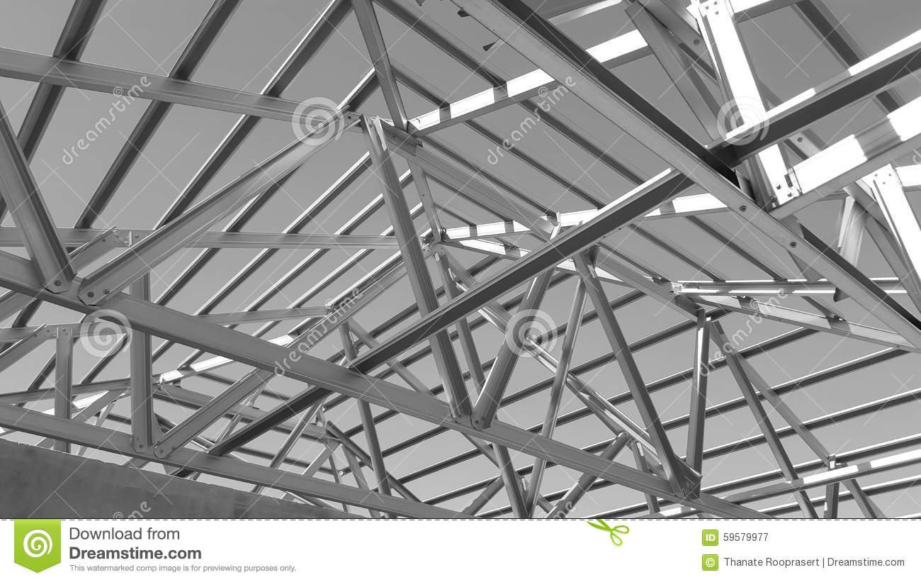 Steel roof black and white stock photo image 59579977 for Prefabricated roofing systems