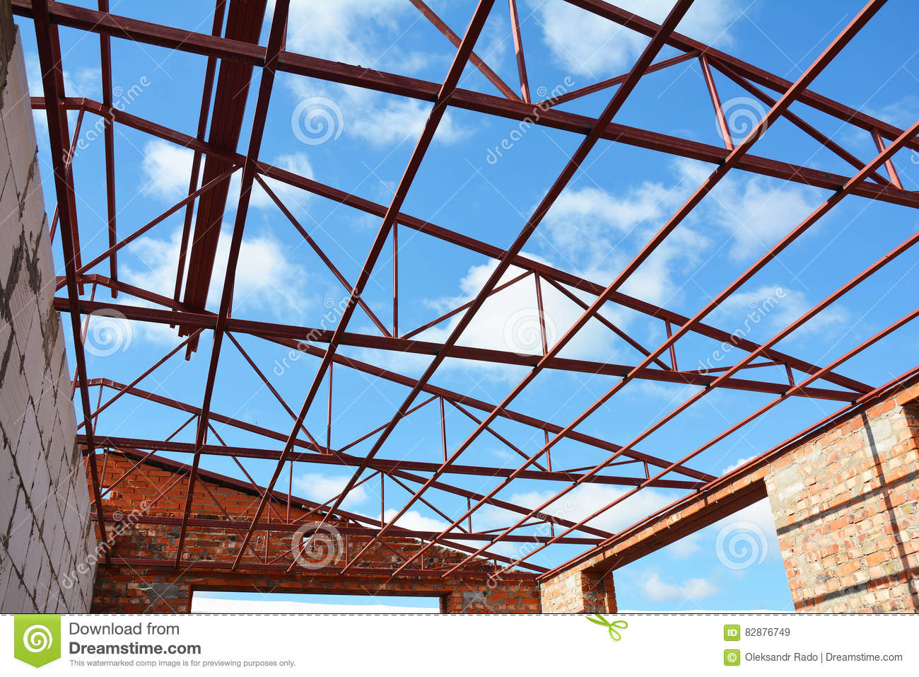 Steel Roof Trusses Details With Clouds Sky Background Steel