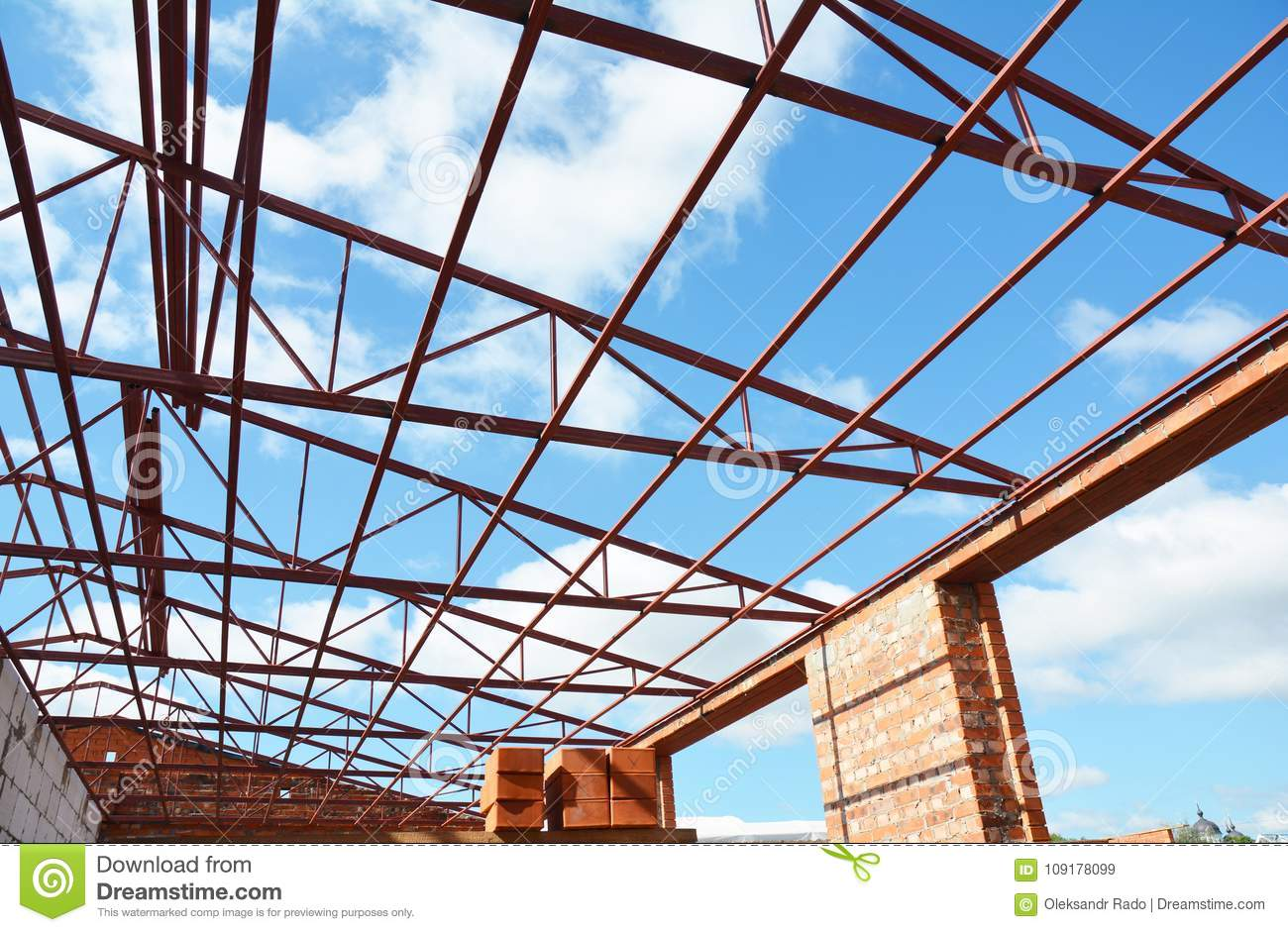 Steel roof trusses stock photos royalty free pictures for Roof trusses prices